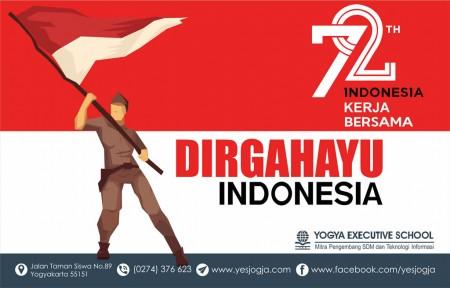 Dirgahayu ke 72 th Republik Indonesia maju bersama Yogya Executive School Mitra Pengembang SDM dan Teknologi Informasi Agustus 2017
